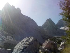 Blick von der Blaueishütte Richtung Gletscher, Schärtenspitze und Steinberg