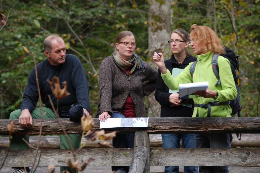 Lorenz Köppl, Michaela Künzl und Anne Katrin Heinrichs (v.l.) vom Sachgebiet Naturschutz und Planung im Nationalpark Berchtesgaden und Diplomgeographin Ingrid Birkel (rechts) bei der Vorbesprechung der ECONNECT-Maßnahme am Saletbach