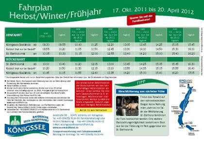 Fahrplan Königsseeschiffahrt
