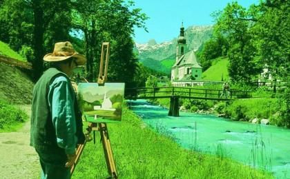 Maler vor Ramsauer Kirche