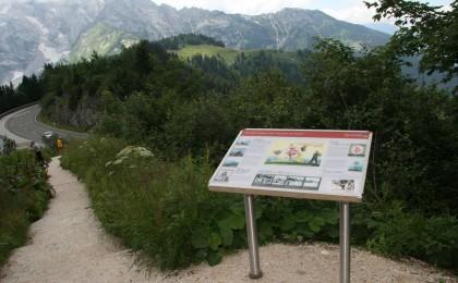 Tafel mit Infos über die Region um das Roßfeld