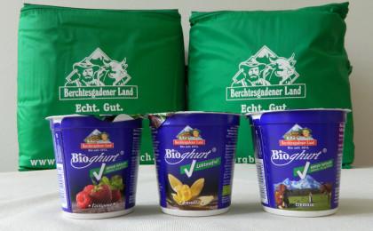 Laktosefreier Joghurt in drei Geschmacksrichtungen