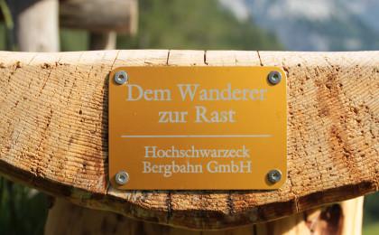 Hochschwarzeck Bergbahn spendiert dem Nationalpark eine Bank