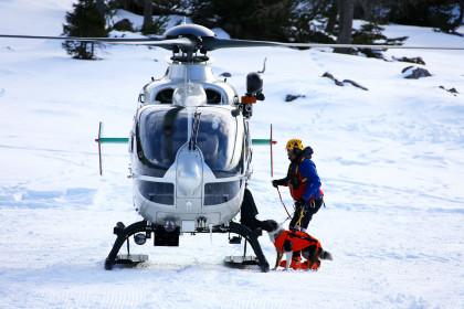 Hubschrauberausbildung mit Lawinenhund ©BRK BGL