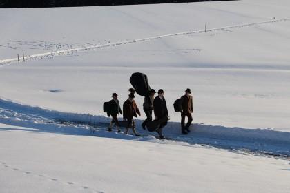 Die Musikanten unterwegs im Winter