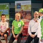 v.l. Friedrich Kühne, Heike Drechsler, Christoph van Bebber im Gespräch mit dem Moderator des Gesundheitstages.