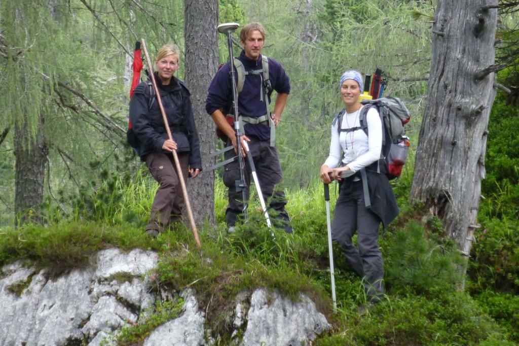 Nationalpark Team bei der Waldinventur