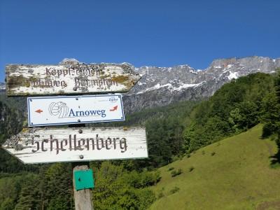 Untersberg mit Wegweisern im Vordergrund