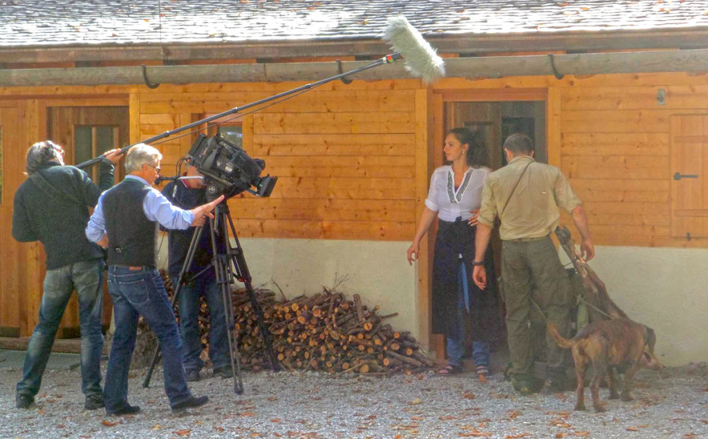 Dreharbeiten des Bayerischen Fernsehens am Wimbachschloss