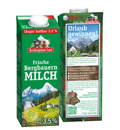 Onpack-Aktion auf der frischen Bergbauern-Milch macht Lust aufs Wandern in der Ramsau im Berchtesgadener Land.