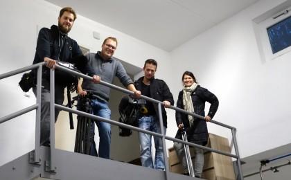 Das Team des Bayerischen Fernsehens beim Bad Reichenhaller Mineralwasser