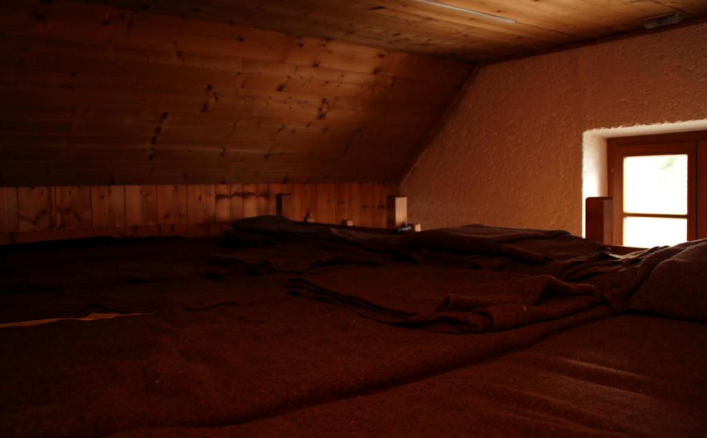 Das Matratzenlager im Winterraum