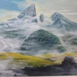 Friedrich Schelle, Nebelstimmung (Akryl auf Holz)