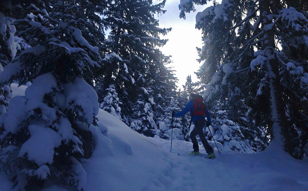 Aufstieg während der Skitour zum Hirschkaser