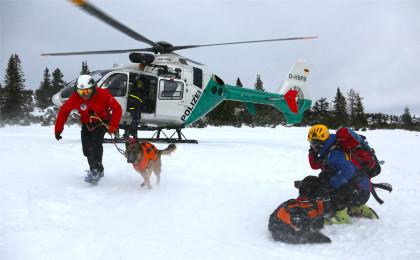 Annäherung des Lawinen-Hundes an den Hubschrauber