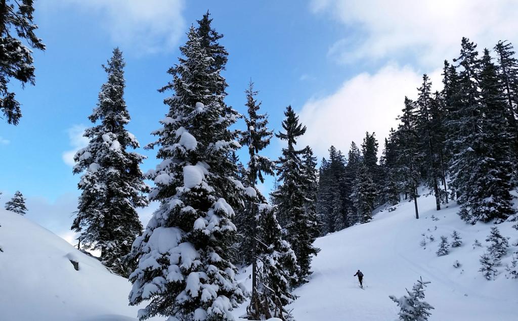 Skitourengeher auf dem Weg zum Hirschkaser