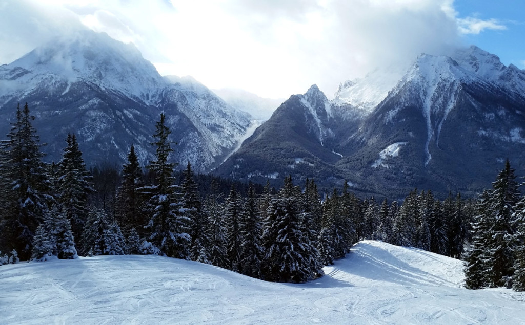 Watzmann und Hochkalter von der Skiabfahrt aus gesehen
