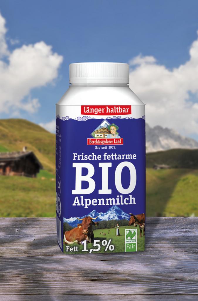 Die neue ¼ Liter Bio-Alpenmilch fettarm von Berchtesgadener Land