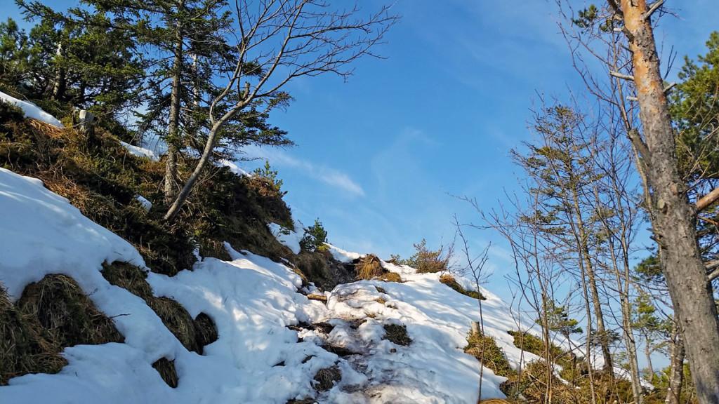 Schnee auf den letzten Metern zum Gipfel des Dötzenkopfs