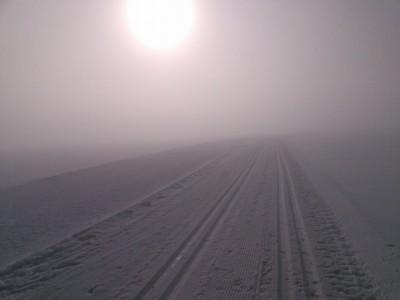 morgens auf der Langlaufloipe 'Watzmann' in Schönau
