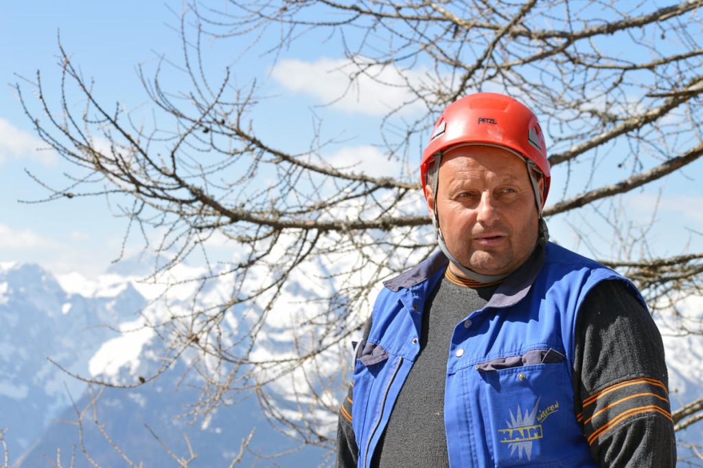 Vorarbeiter Josef Lindler vorm Watzmann