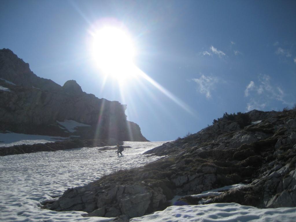 Abfahrt über die Eisrinne