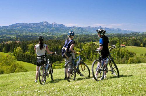 Mountainbiker stehen im Panorama mit Blick auf die Chiemgauer Berge mit Hochfelln und Hochgern