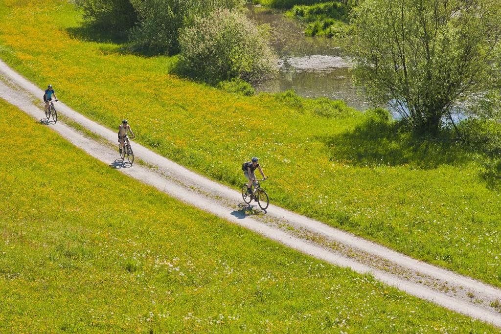Mountainbiker auf dem Feldweg der Sur entlang inmitten einer blühenden Wiese