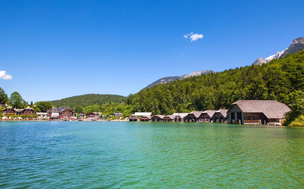 Blick zur Seelände Königssee und den Schiffswerften