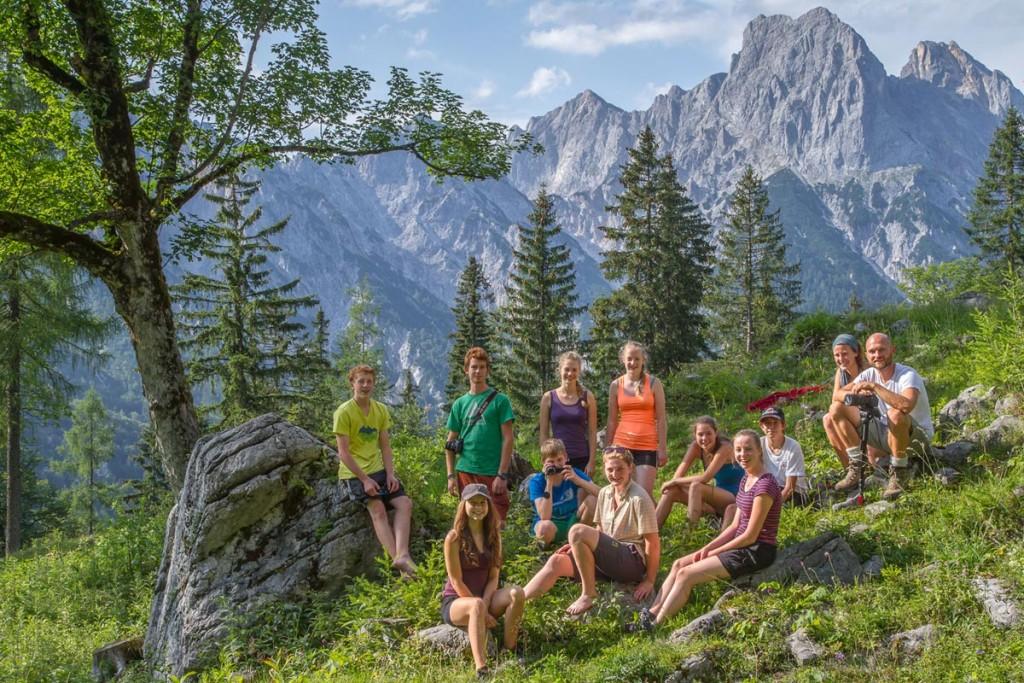 Jugendgruppe im Klausbachtal  Nationalpark Berchtesgaden