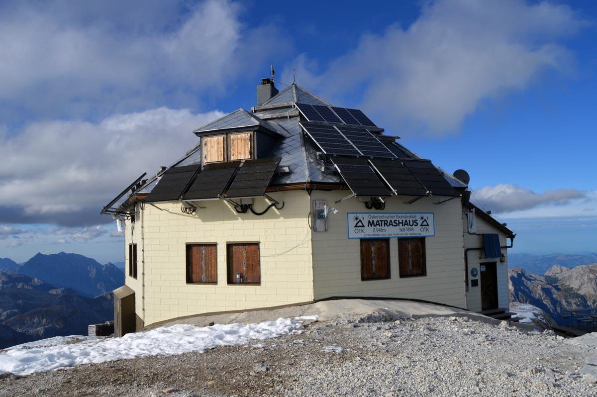 Endlich: Ankunft beim Matrashaus auf dem Hochkönig (2.941m)