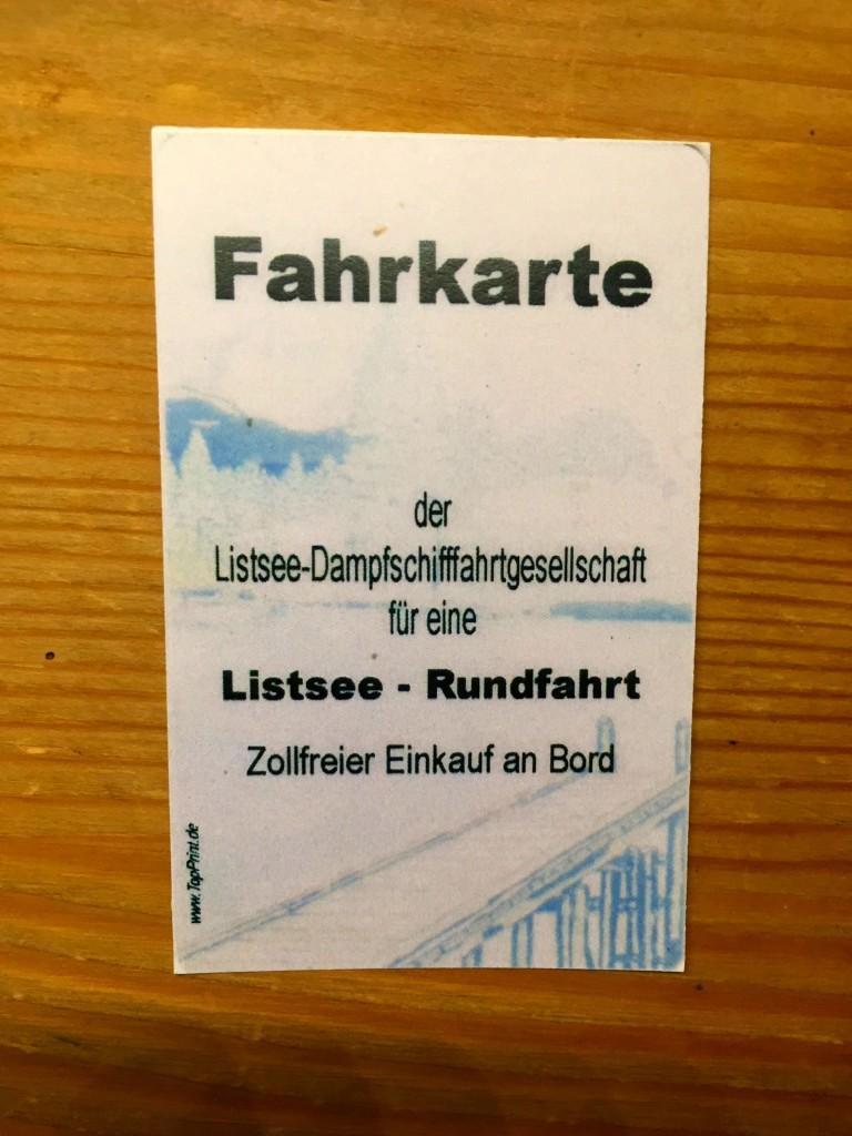Fahrkarte für die Dampfschifffahrt am Listsee