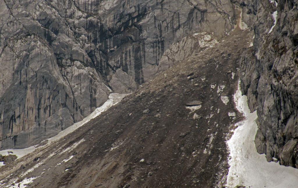 Die frischen Trümmer unter der Göll-Westwand