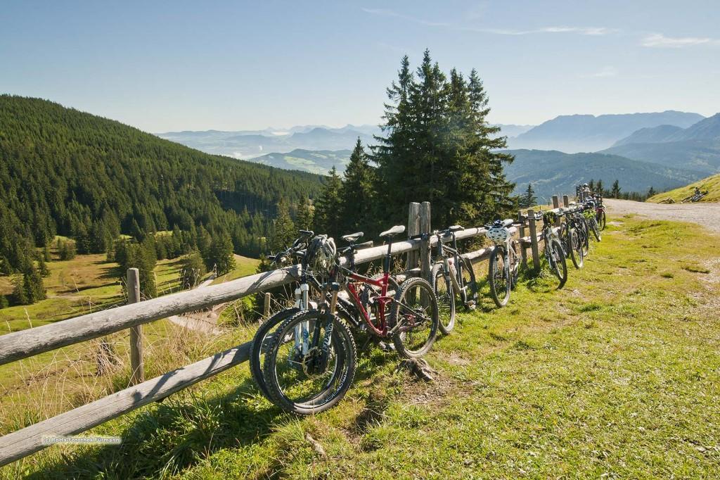 """Die Stoißeralm auf dem Teisenberg (1334m) mit Hochstaufen und Zwiesel, Berchtesgaden Alpen (Bayern, Oberbayern, Berchtesgadener Land, Deutschland), ein """"Magnet"""" für Wanderer und Mountainbiker"""