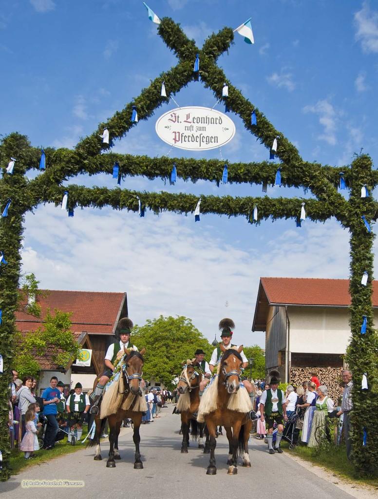 Reiter mit Kaltblutpferde unter dem Triumphbogen beim Leonhardiritt in Holzhausen bei Teisendorf mit, Oberbayern, der Umritt ist erstmals urkundlich erwähnt 1612, dabei werden die wunderschön herausgeputzten Pferde gesegnet, Deutschland