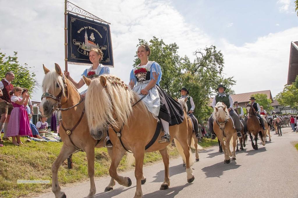 Reiter und Reiterinnen auf traditionell geschmücktem Pferd beim traditionellen Leonhardiritt in Holzhausen - Teisendorf, Oberbayern, der Umritt ist erstmals urkundlich erwähnt 1612, dabei werden die wunderschön herausgeputzten Pferde gesegnet, Deutschland