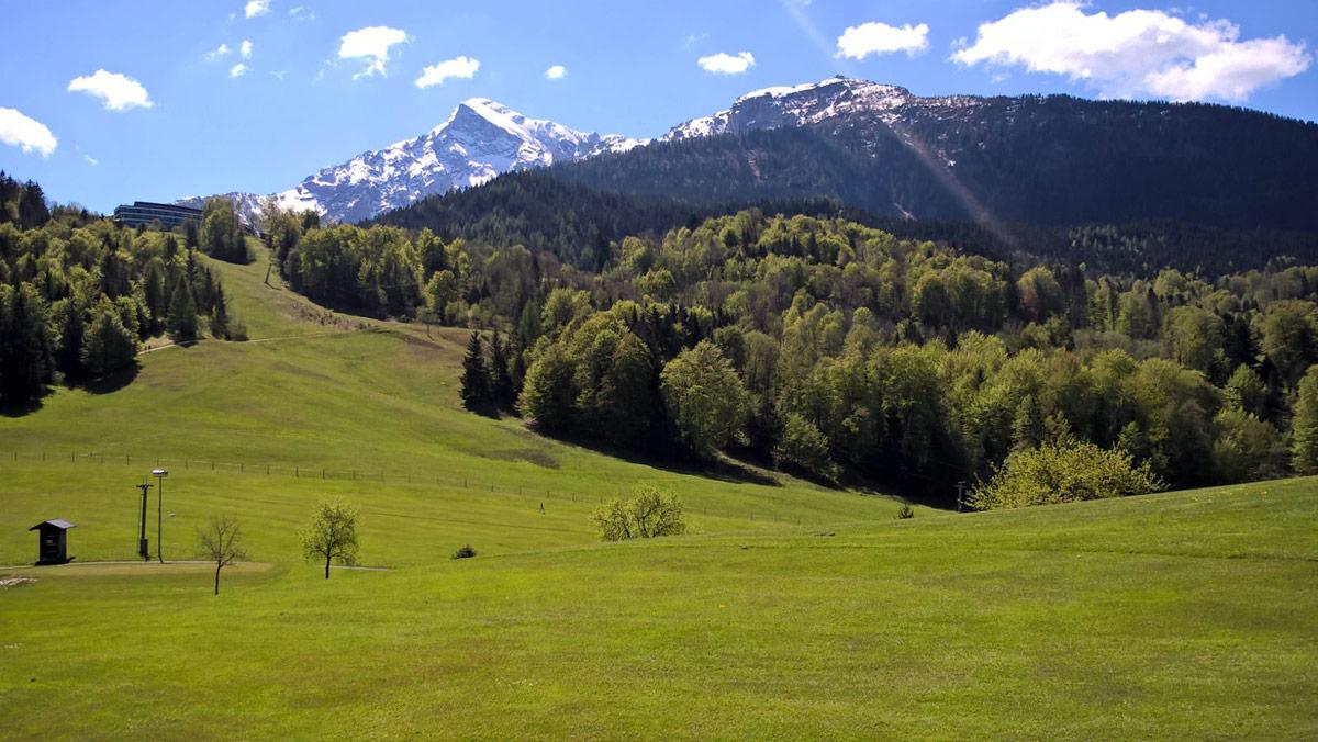 Blick vom Golfplatz zu Kehlstein und Hohem Göll
