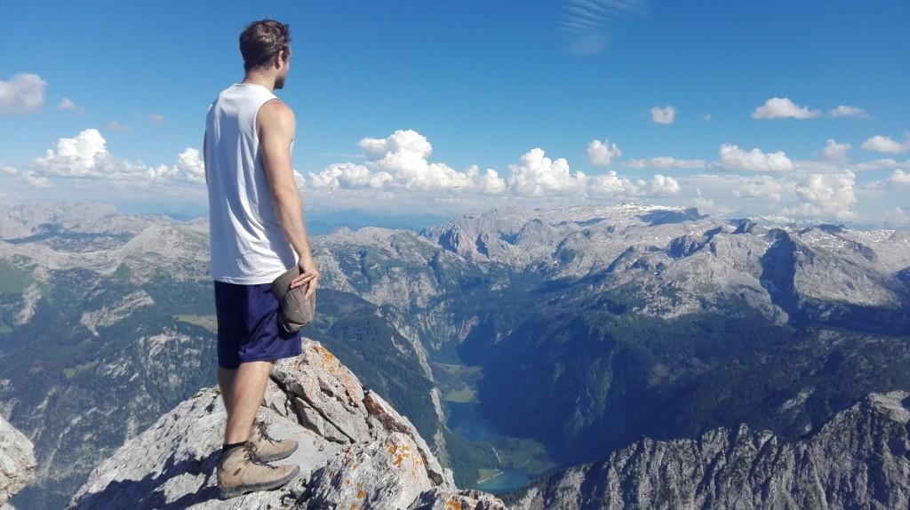 Blick vom Hocheck über Königs- und Obersee bis zum Hochkönig