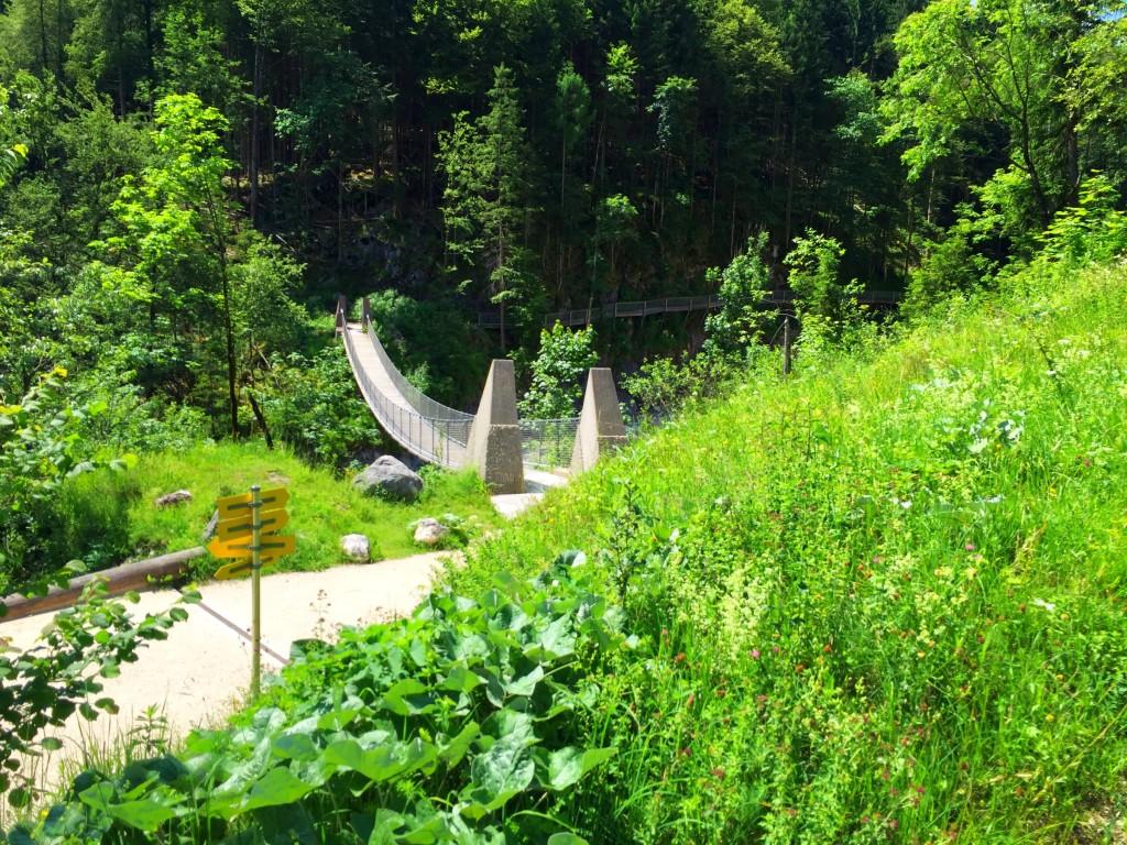 Blick auf die Hängebrücke über den Klausbach