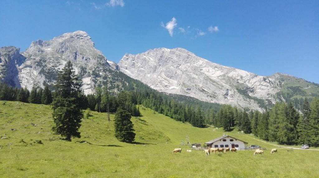 Blick von der Kührointhütte zum Watzmannmassiv. Das Hocheck ist am Beginn des langen Grates bereits zu erkennen, ganz rechts das Watzmannhaus.