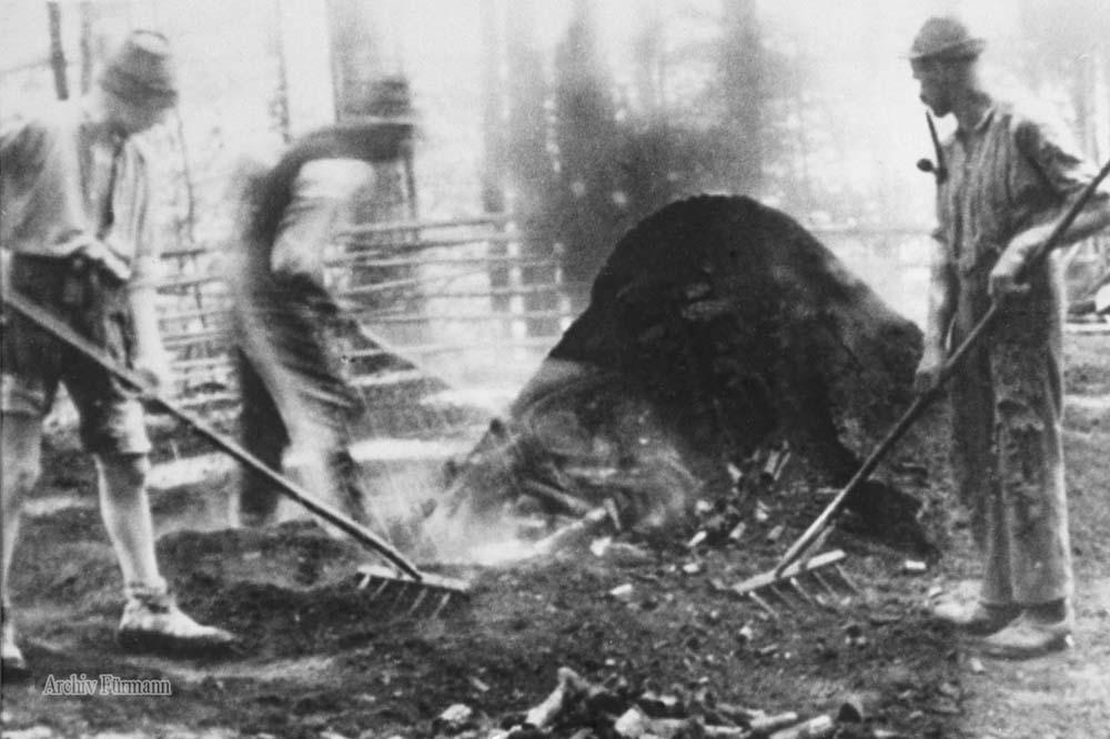 Am Kohlenmeiler sie brennen für den Hochofen in Achthal Holzkohle