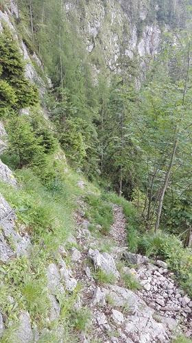 Erste gesicherte Wegstellen im unteren Alpeltal