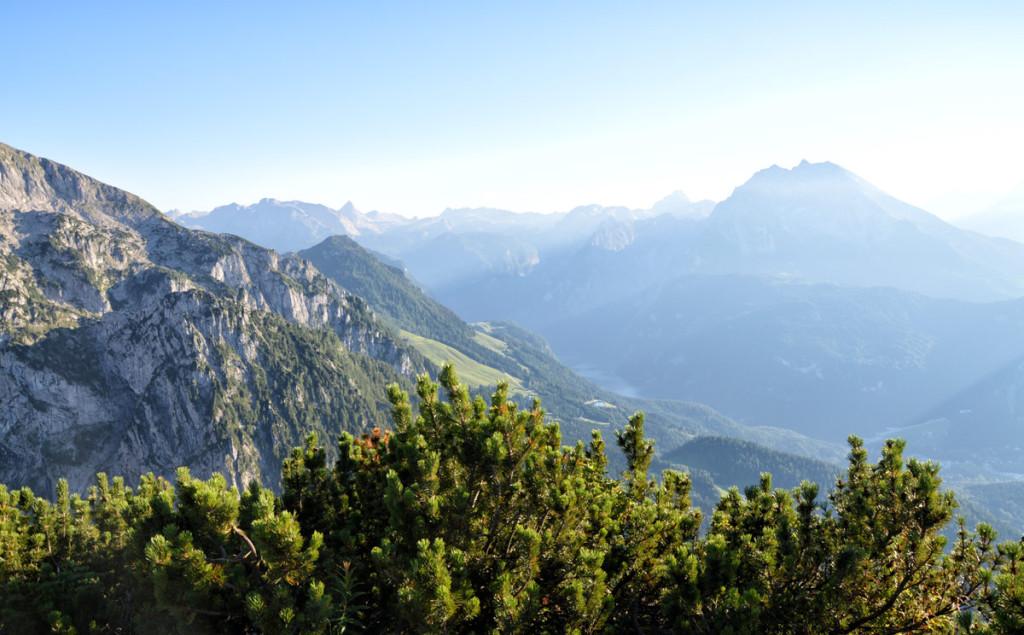 Blick vom Kehlstein über den Königssee zu Watzmann und Steinernem Meer