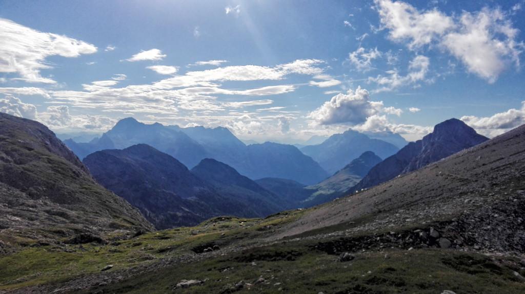 Rückblick aus der Hundstodscharte zum Seehorn am rechten Bildrand.
