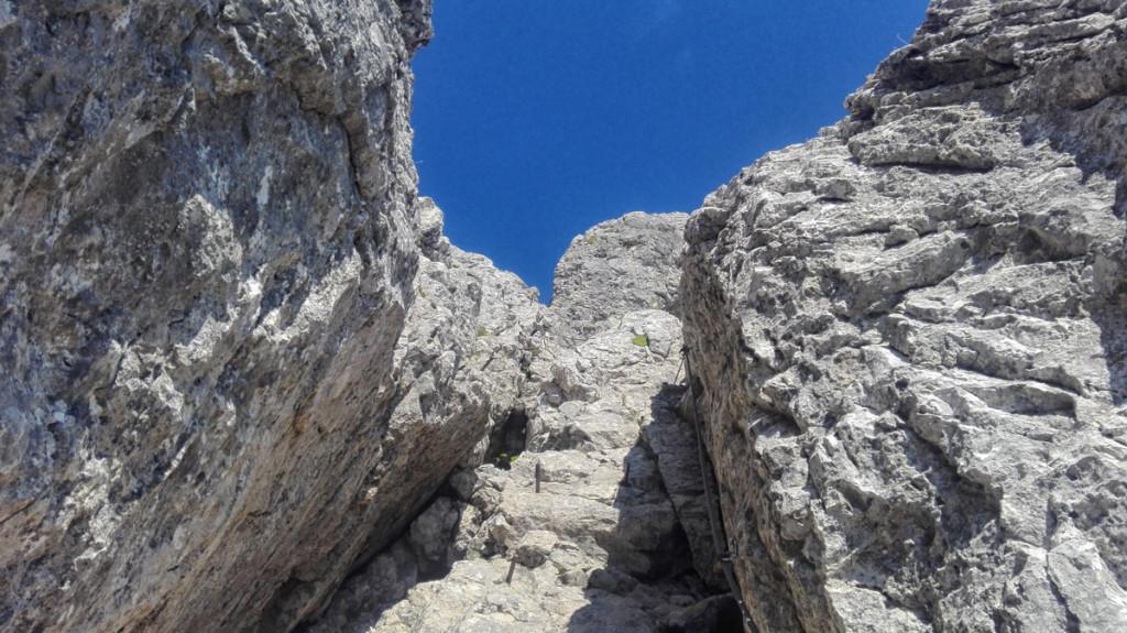 Der Kamin vom Einstieg aus.