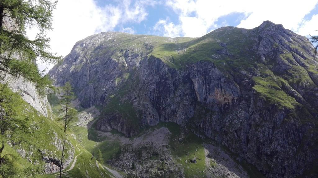 Der Steig biegt ins Ladtal ein. Der Gipfelhang des Kahlerbergs ist bereits einzusehen.