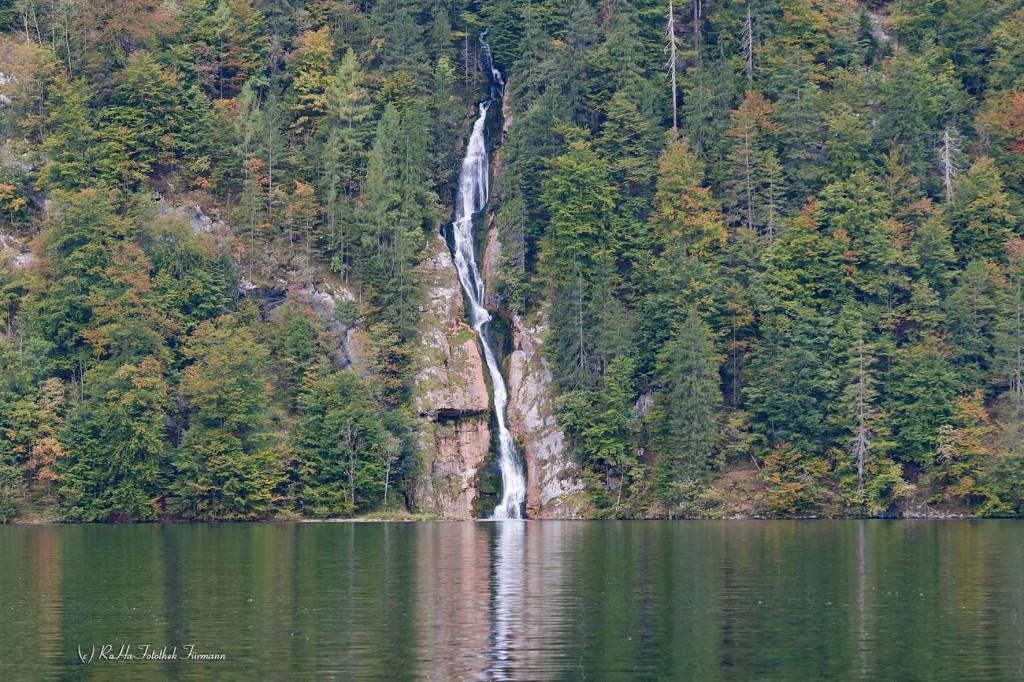 der Schreinbachfall am Königssee, Berchtesgadener Land, Oberbayern, Deutschland