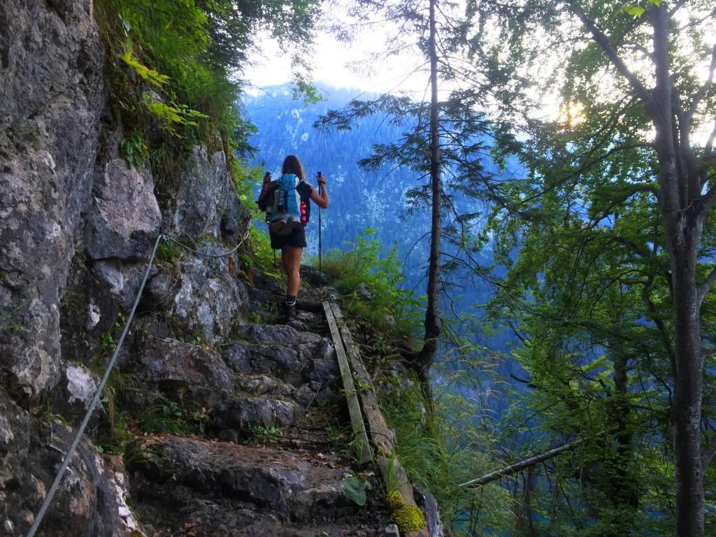 Der Steig schlängelt sich im steilen Gelände hinauf