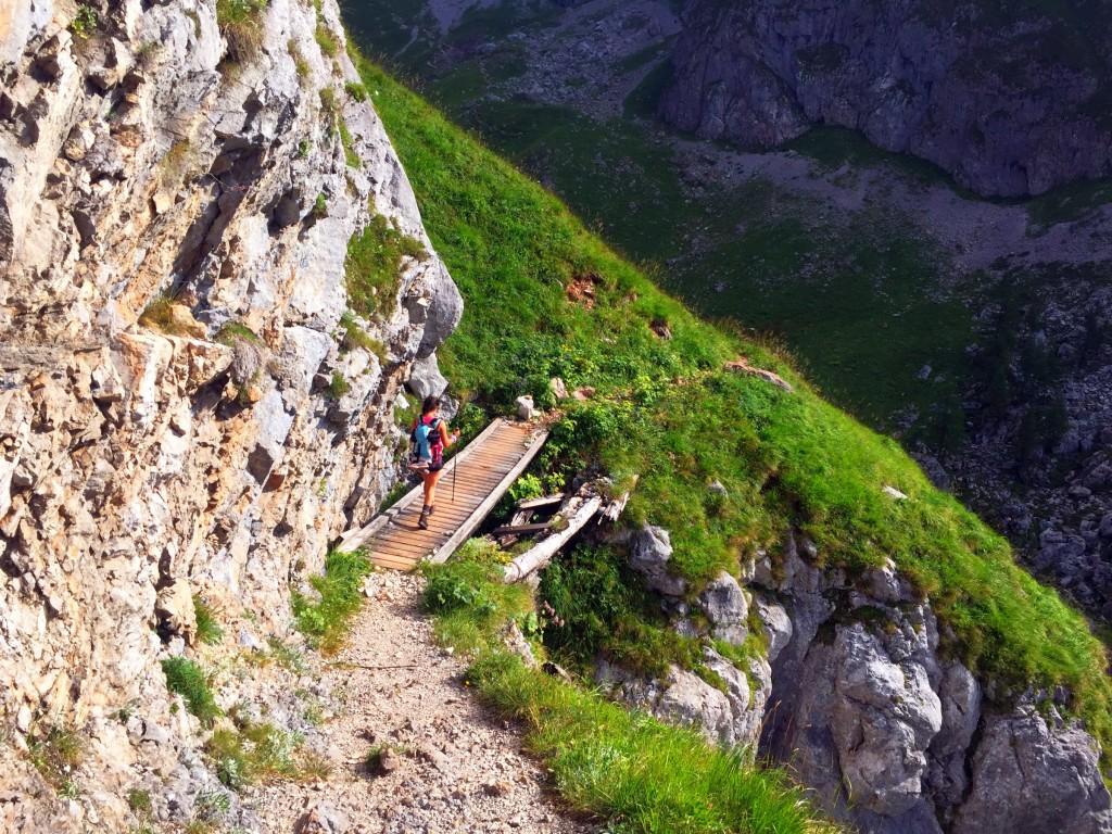 Blick auf Holzbrücke über dem Landtal