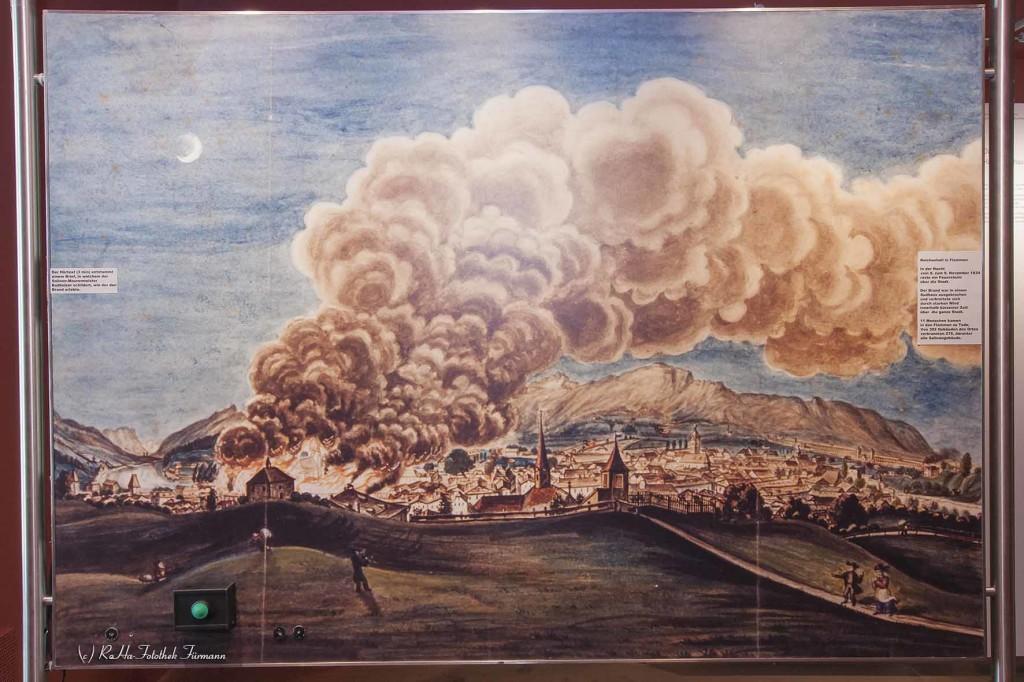 großer Stadtbrand 1834 - Bad Reichenhall Gemälde hängt im Salzmuseum der Alten Saline